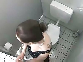 German  Tattoo Toilet Voyeur