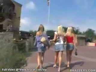 Amateur Blonde Cute Outdoor Threesome