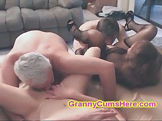 My two SLUTTY Granny Friends eat CUM