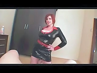 Busty Bitch in Latex Dress Sucking Cock -by TLH