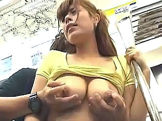 Big boobs Japanese sucks in a train