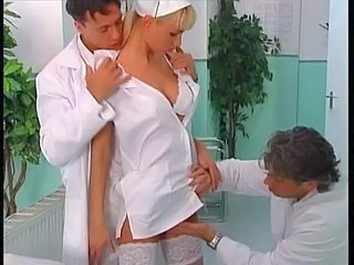 Hot nurse double fucked by two doctors!