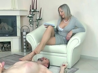 mature nylon footjob 6