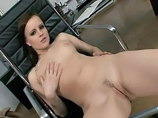 Amazing Brunette Office Pornstar Pussy Shaved Small Tits