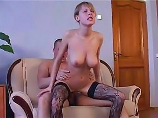 Big Tits Blonde Hardcore Pornstar Riding Russian Stockings