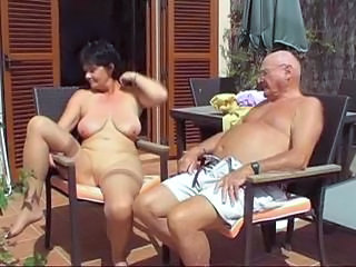Amateur Brunette Mature Older Outdoor Stockings