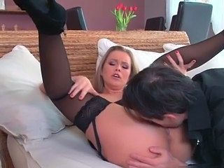 Ass Blonde Licking MILF Pornstar Stockings