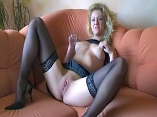 Big Tits Blonde German Masturbating MILF Pussy Shaved Stockings