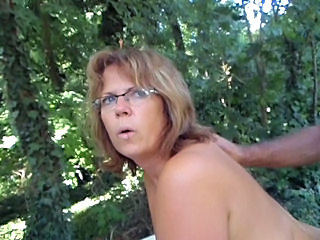 Amateur Blonde Doggystyle Glasses Mature Outdoor