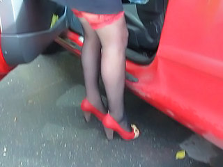 Red car, red shoes, red tops black stockings