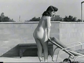 Beautiful 40's Babe By the Pool