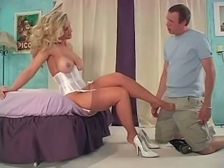 Babe Big Tits Blonde Corset Feet Fetish Pornstar Stockings
