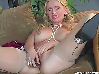 Blonde lusty chick Victoria Zdrok thumps a hard toy in her twat until she cums