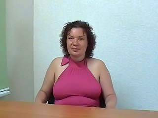 Russian old milf with silly face on the porn casting. Part 1