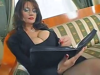 Amazing Big Tits Glasses Mature Secretary