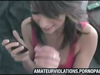 Boyfriend shoves his dick in his girlfriends mouth