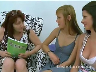Shy first time lesbian teen joins two other lesbos for a threesome as they slowly ease her into it, taking off her clothes and sucking on her nipples