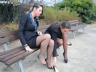 Brunette Feet MILF Outdoor Secretary Stockings