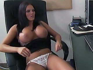 Interrupted masturbation session in her office