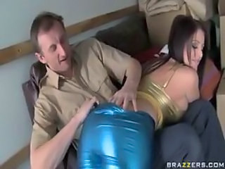 Busty girl in shiny clothes loves big cock