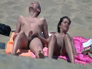 Beach Handjob Nudist Voyeur