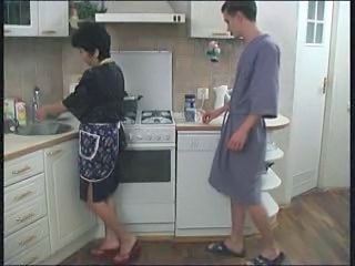 Kitchen Mature Mom Old and Young Russian