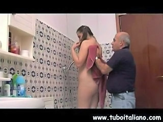 Bathroom Daddy Daughter European Italian Old and Young