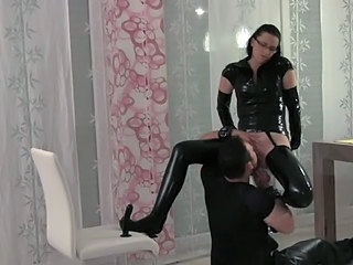 Femdom Glasses Latex Licking Slave