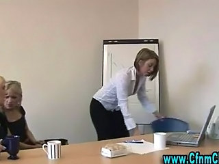Cfnm office babes get naughty
