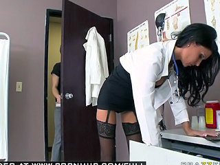 Babe Brunette Doctor Pornstar Stockings Uniform