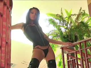 Amazing Brunette Latex Panty Skinny Teen