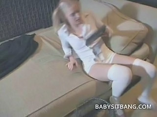 Babysitter Rubs Her Sweet Pussy And Waiting For Dick