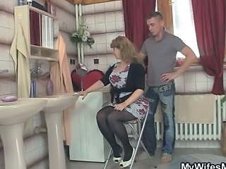 Amateur Big Tits Blonde Kitchen Mature Mom