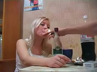 Amateur Blonde Cute Drunk Russian Smoking