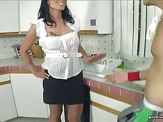 Big Tits Brunette Kitchen MILF Pornstar Skirt
