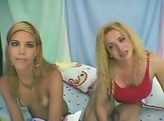 Blonde tranny with small tits satisfying her dude dirty desires