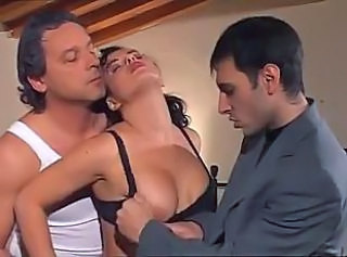 Exclusive Italian gangbang with busty lush dame going crazy over these pricks