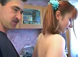 Amateur Daddy Daughter Homemade Kitchen Redhead