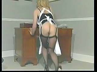 Ass European French Maid Masturbating Stockings