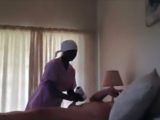Spycam maid suck and handjob.