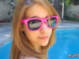Amateur Blonde Cute Outdoor Pool Teen