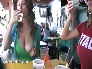 Sexy brunette babe gets horny flashing part6