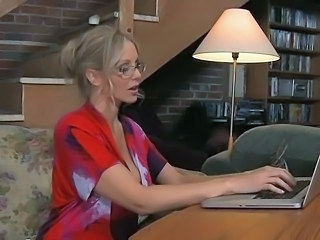 Big Tits Blonde Glasses MILF Pornstar