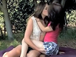 Brunette Cute Kissing Lesbian Outdoor Teen