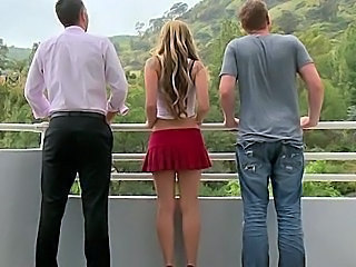Blonde Cute Outdoor Teen Threesome Young
