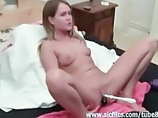 Bizarre toilet brush fucked and fisted amateur