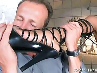 Brunette successful footjob and getting anal fucked
