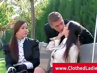 Glamourous pert threesome attracting place in outdoors