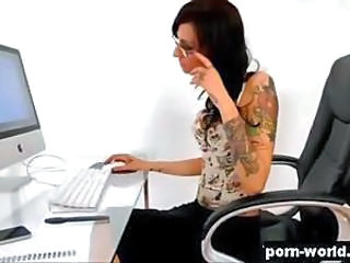 Deepthroat Glasses MILF Office Pornstar Secretary Tattoo