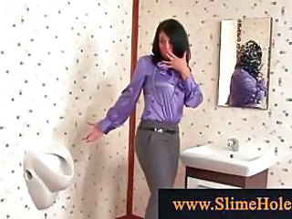 Slime showered brunette sucking gloryhole bushwa gets wet with the addition of dirty
